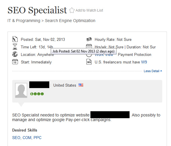 A vague SEO quote request likely to attract cowboy companies