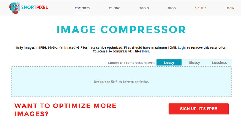 Shortpixel image compressor screenshot